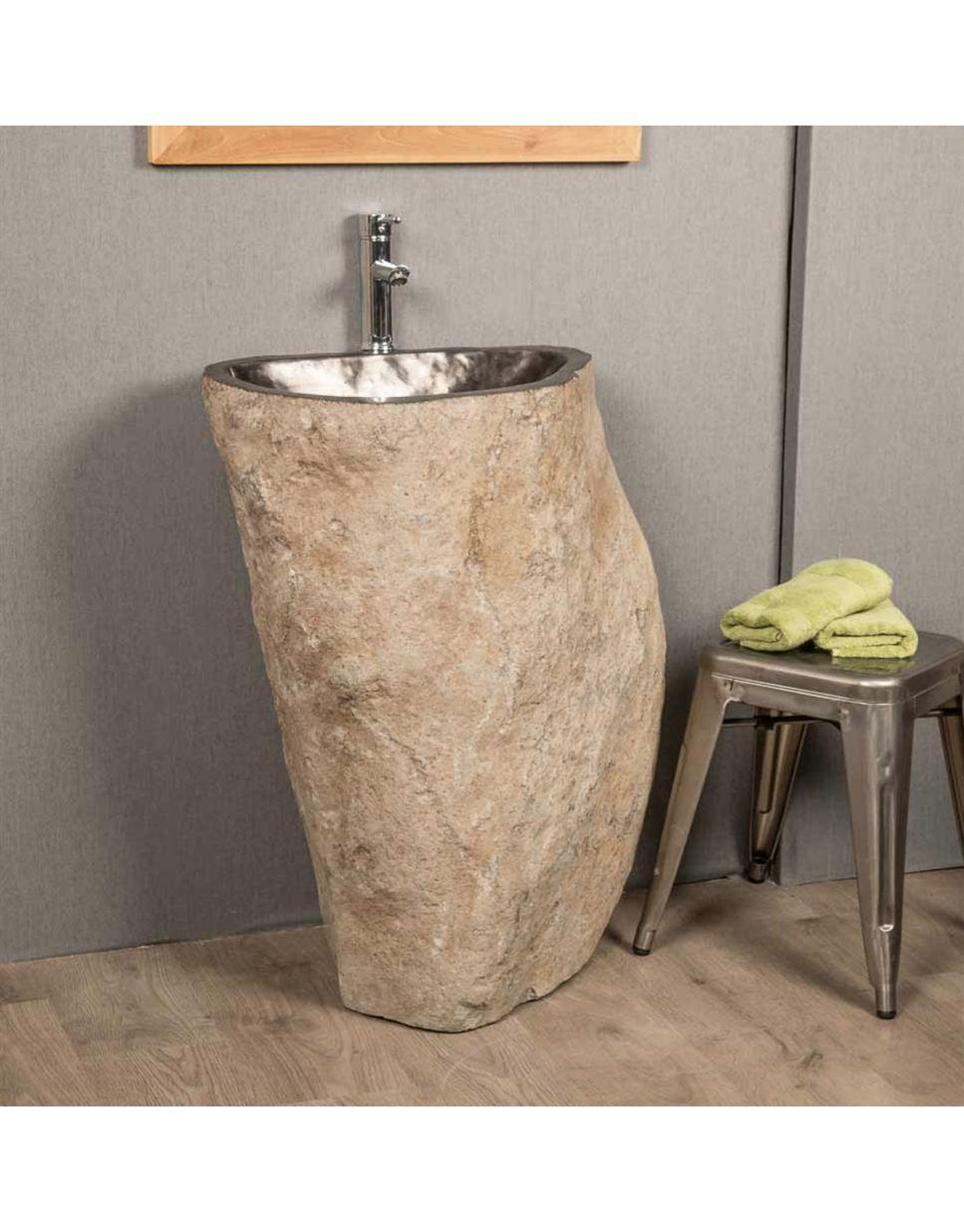 Natural River Stone Pedestal Sink 90 X 40cm